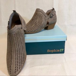 Sophie 17 Shoes - Sophie 17 Taupe Vicky Cutout Booties Sz 10 NWT